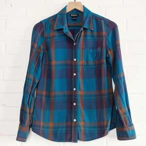 Lucky Brand Plaid Flannel Button Up Shirt Teal